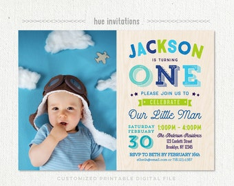 first birthday invitations, boys photo birthday party invitation printable, blue navy lime green woodgrain, little man birthday invite 290