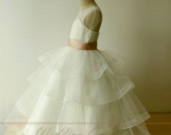 Layered Tulle Simple A Line Princess Flower Girl Dress with Blush Waistband