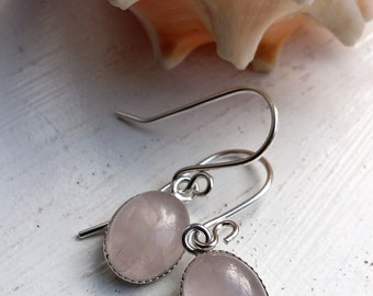 Sterling Silver Pale Pink Rose Quartz Bezel Cup Drop Dangle Earrings