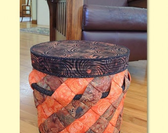 Slanted Storage Pattern by Aunties Two Patterns; AT296; Fabric Basket Pattern; Fabric Storage Basket; Quilting, Sewing