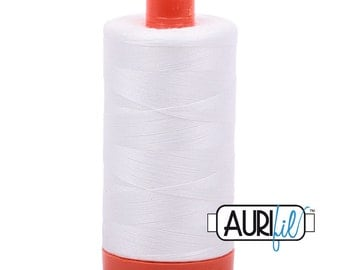 Aurifil Thread, Natural White 2021; Mako Cotton 50wt Thread; Lg Spool - 1422yds; for machine embroidery, applique, quilting; White Thread