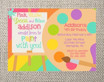 PRINTED or DIGITAL Paint Art Party Palette Pottery Birthday Invitations 5x7 Customized Paint Design 0.82 each