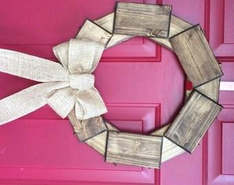 "Dark Walnut Wood Wreath with Burlap bow 18"" diameter. Farmhouse wreath, front door wreath, rustic wood wreath, pine wreath, front door decor"