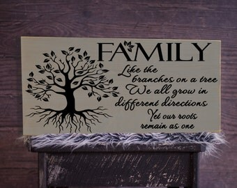 "Family Like Branches on a Tree Vinyl Wooden Sign 12"" x 24"". Rustic wood signs, farmhouse decor, family tree signs, familyroom decor"