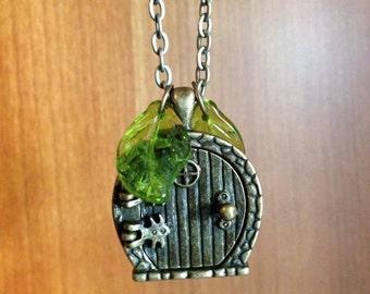 Bronze Fairy Door Locket Pendant Necklace Fantasy Book Gnome Hole Fairy tale Door Story Book Jewelry Nature Nerd Book Lover Geek Girl Gift