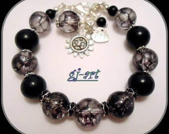 Black tourmaline quartz bracelet with free matching earrings