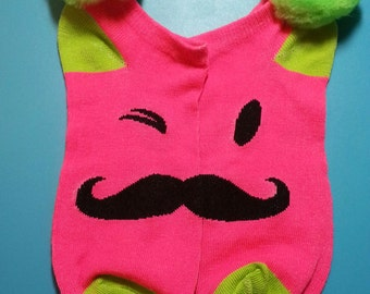 Pompom socks Mustache, Wink Print, Extra Large Pompoms, 1 pair -Shoe sz. 4-10 in tweens, teens, and adults; Sock sz. 9-11