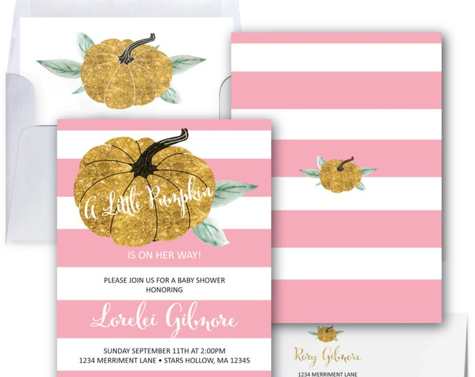 Pumpkin Baby Shower Invitation // Gold Glitter // Little Pumpkin // Pink Stripes // It's a Girl // Striped // STARS HOLLOW COLLECTION