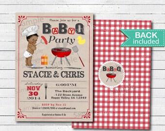 Baby Q invitation. Retro kraft paper vintage African American baby boy bbq couple coed baby shower digital printable invite. B228