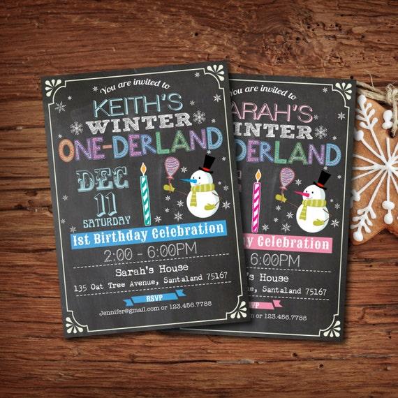 First Birthday Party Invitation Boy Chalkboard: Winter Onederland Invitation. Boy Girl 1st First Birthday