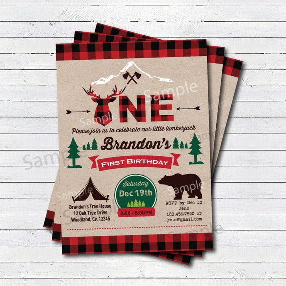 Lumberjack invitation. Lumberjack first birthday party
