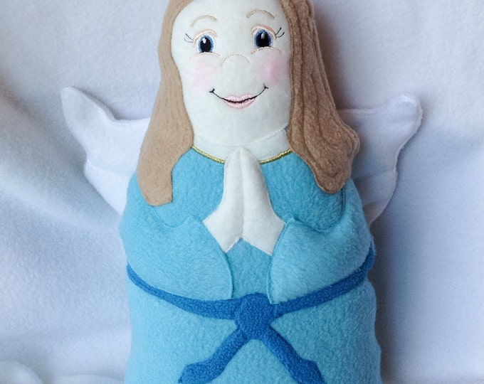 Guardian Angel Soft Saint Doll with Blue Dress, Catholic Saint Doll, Angel Doll, My Guardian Angel, Soft and Perfect for little ones to Snug