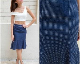 1960 Vintage Skirt/ Navy Blue Polka Dot Skirt/ Small Skirt/ Rockabilly Skirt/ Pin Up Skirt/ Blue Skirt/ Midi/ Japanese Vintage/ Polka Dot