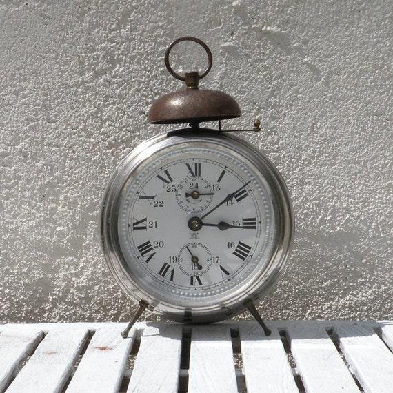 LARGE French vintage clocks, French alarm clock, retro alarm clock, mechanical clock, chrome alarm clock, aluminum clock, shabby chic clock