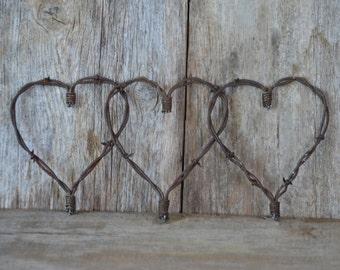 """Rustic Valentine Heart, Barbed wire heart, Barb wire, Country Charm meets Shabby Chic, A Piece of the """"Old West!"""" Primitive metal art."""