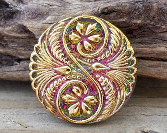 Czech Glass Button-Spiral Pink Gold Vitral 32mm BC-118,boho button,fancy glass buttons,pink glass button,pink green button, sewing knitting