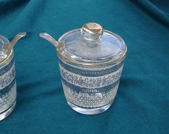 Jeannette Glass company condiment jar with lid
