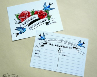 10 Tattoo Style Wedding Invitations & Envelopes Rockabilly Rose and Swallows