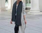 Premium Knit 100% Cashmere Robe - Handmade - Silvered Grey Colour