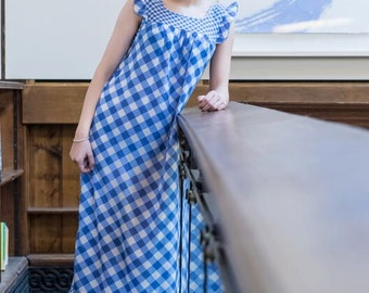 Vintage 1970s blue & white gingham, checked, Pippa Dee nightie, night dress.