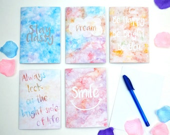 Inspirational Watercolour Notecard Set of 5