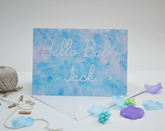 Personalised 'Hello baby' Card Blue