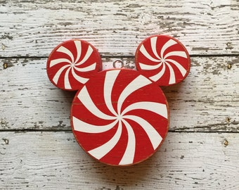Disney Christmas Ornament | Peppermint Ornaments | Mickey Mouse Ornament | Peppermint Christmas | Disney Wood