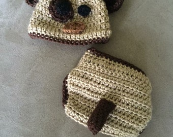 Puppy Hat, Diaper Cover with Tail, and Paw Bootie Set