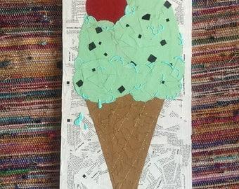Paper Mache 'Ice cream cone' Wall Hanging