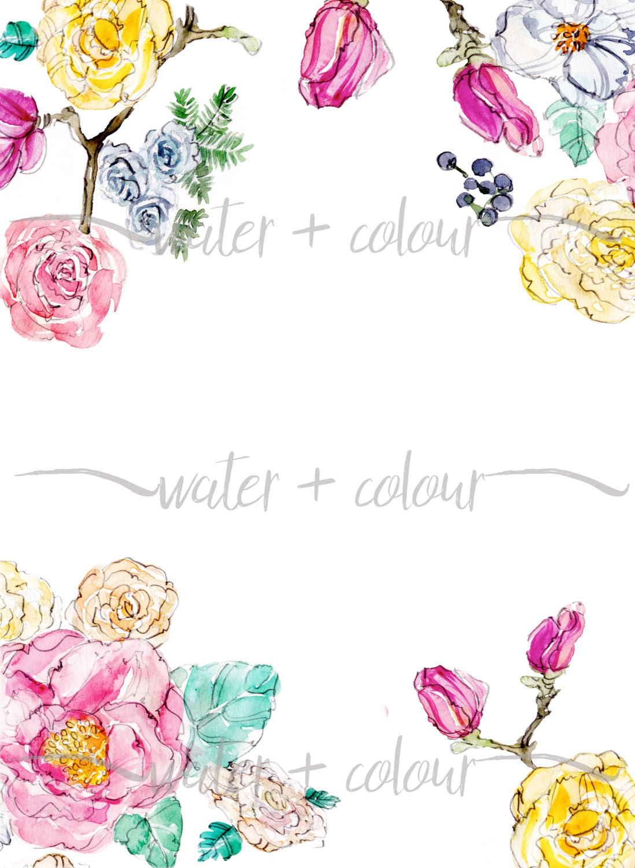 Downloadable Watercolor Floral Border
