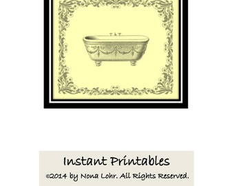 Bathroom Wall Decor Yellow Art Print  INSTANT DOWNLOAD Digital Bathtub Vintage Old Fashioned