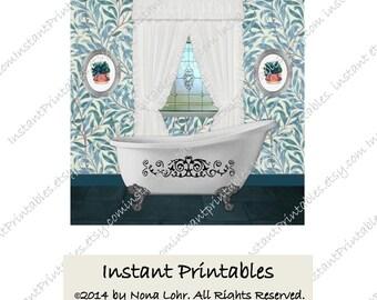Bathroom Wall Decor Teal Turquoise Aqua Art Print INSTANT DOWNLOAD Digital Vintage