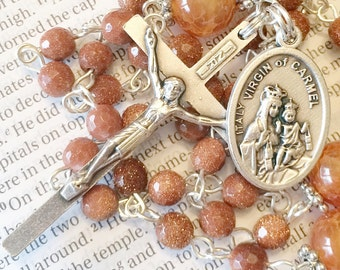 Rosary Virgin of Carmel Rosary Silver Rosary Catholic Rosaries Confirmation Gift Mothers Day Gift Mary Rosary