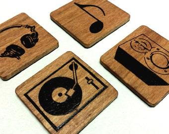 Hand burned wood DJ Music Coasters - Set of 4