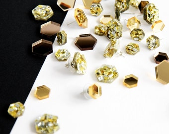 Large hexagon earrings, studs, lasercut acrylic, gold earrings, glitter earrings, geometric earrings