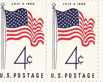 Qty of 10  50-Star U.S. Flag 4 cent 1960 vintage postage stamps, These stamp are in excellent unused condition.