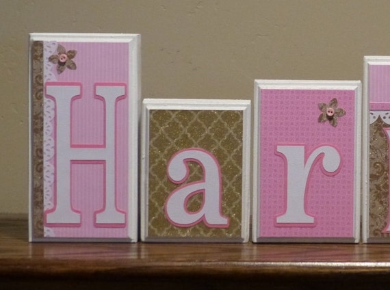 Gold pink name blocks wood letters pink gold nursery decor for Baby room decoration letters