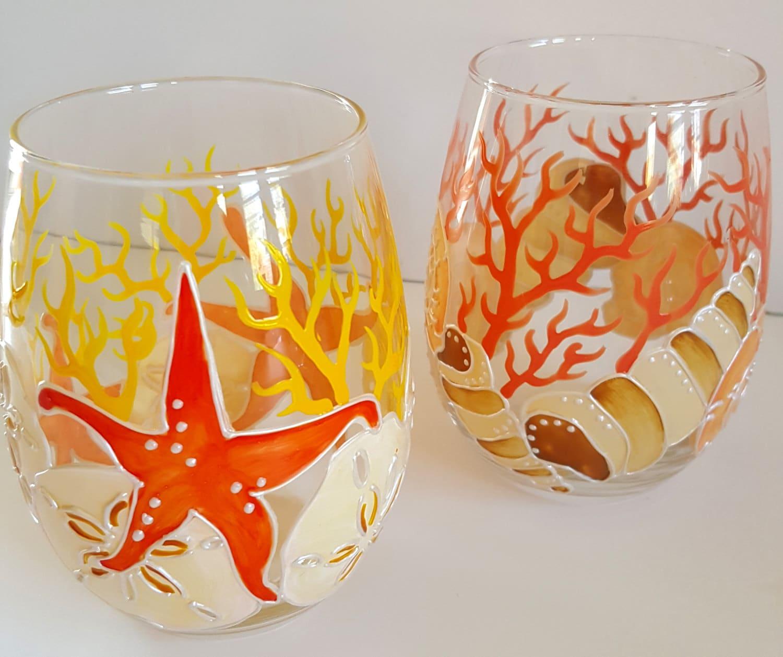 Beach wine glasses hand painted stemless wine glasses for Painted stemless wine glasses
