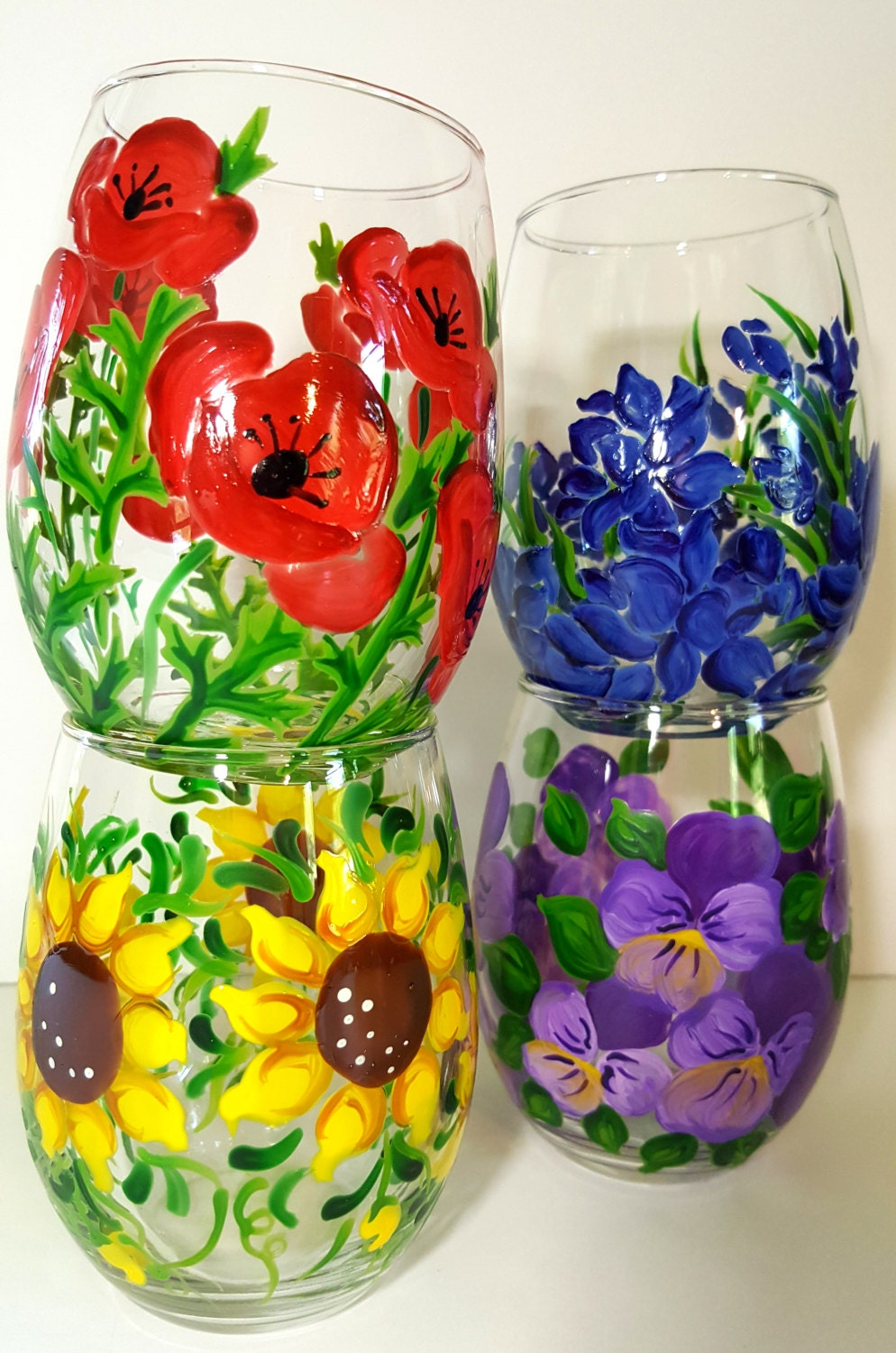 Wine glasses hand painted stemless assorted flowers for Painted stemless wine glasses