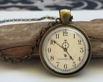 Vintage Clock Necklace . Vintage Clock Art Jewelry . Old clock face Pendant (clock#6)