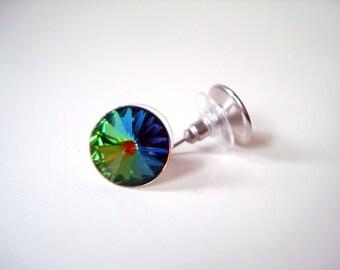 Rainbow Crystal Stud Earrings - Swaovski crystal vitrail rainbow rivoli rhinestone colorful round post earrings stainless steel large stud