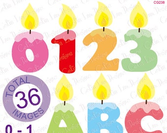 ALPHABET candles Digital Clip Art / Birthday Candle Alphabet and number Clipart for Birthday Party clipart , Card making , Cupcake Toppers