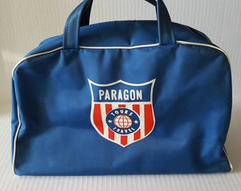 Vintage Travel Souvenir Bag, Paragon Tours, Blue, 70s / 80s