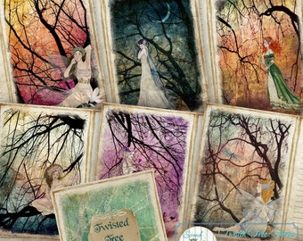 Fairy Journal Pages, Fairies, Journal Cards, Printable Journal, Digital Paper Craft Supplies, - 'Twisted Tree Fairy Journal'