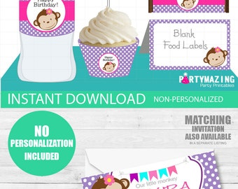 Girl Monkey Party Set, Printable Party Set, Table Set Package, Party Decor, Toppers, Labels and Wrappers, Instant Download -D713