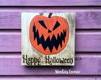 Happy Halloween sign, Halloween Decor, Nightmare before Christmas decor, Holiday sign, Rustic Halloween sign, Halloween decorations