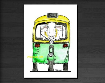 Tuk Tuk Moo Taxi cab Greetings card illustartion