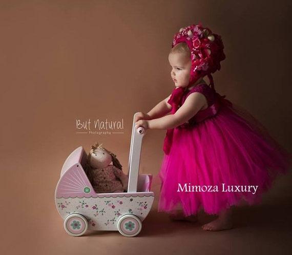 Magenta Fuchsia Flower girl dress, tutu dress,bridesmaid dress, princess dress, crochet top tulle dress, hand knit top tutu dress