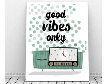 Good Vibes Print, Mid Century Radio Art, Printable Art, Instant Download, Mid Century Art, Retro Radio, Turquoise Radio, Musical Art