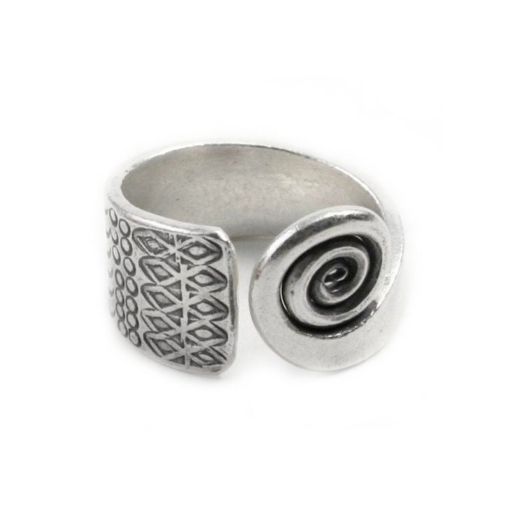 sterling silver wrap ringthick silver spiral wide band